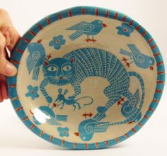 Bright Aqua & Orange Bowl with Hand Carved Sgraffito Cat, Mouse and Birds