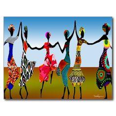 African Praise Dance, Post Card