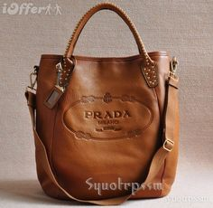 PRADA REAL LEATHER HANDBAG SHOULDER BAG BROWN NEWEST