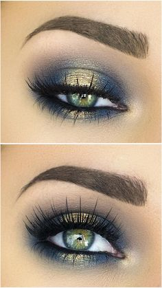 Blue + gold halo eye makeup.