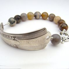 Upcycled bracelet with silver needle agate by laurelmoonjewelry
