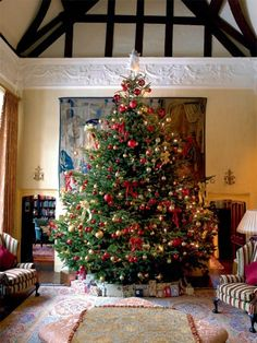 vmburkhardt: A rural 14th century English manor at Christmas from Period Living /one hell of a Christmas tree/