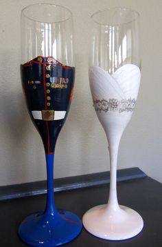 Bride and Groom Military toasting flutes by lgrn22 on Etsy, $49.00 Too cute!!! Must have these!!