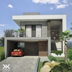 Image may contain: house and outdoor Modern Small House Design, Small Modern Home, Minimalist House Design, Minimalist Home, House Outside Design, House Front Design, Bungalow House Design, Duplex House, Modern House Facades