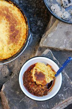 Dutch Oven Chili + Cornbread - Camping Cooking 101 via @honestlyyum