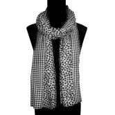 Bollywood Accessory - Polyester Polka Dots Scarf / Stole / Dupatta / Neckwrap With Double Design Print ( Style No. Ba1214)