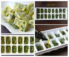 Ervas Congeladas em Azeite 1. Picar as ervas frescas ou deixá-las em ramos e folhas maiores (pode misturá-las);  2. Coloque em bandejas de cubos de gelo (cerca de 2/3 cheio de ervas); 3. Coloque azeite extravirgem de oliva ou manteiga derretida s/ sal sobre as ervas; 4. Cubra c/ filme plástico e leve ao congelador; 5. Remova os cubos congelados e armazene-os em recipientes ou sacos pequenos de congelamento; 6. Etiquete cd embalagem c/ o tipo de erva (e óleo) dentro.