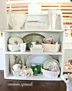Seems like the Garden Room has become the place to display some of my long hidden collections. Summer is the perfect time to show off my… Glass Kitchen, Green Kitchen, Vintage Display, Vintage Decor, Best Wishes Card, French Country Cottage, Vintage Pottery, Good Job, White Paints