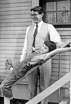 Mary Badham and Gregory Peck on the set of To Kill a Mocking Bird #movie #film
