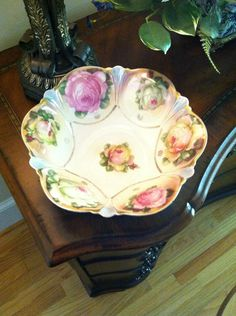 German Porcelain Large Serving Bowl Gorgeous Roses.