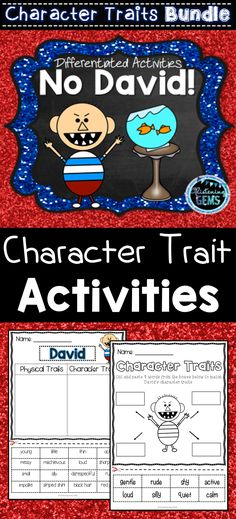 No David! Character Traits Activities Bundle - Real Time - Diet, Exercise, Fitness, Finance You for Healthy articles ideas Character Traits Activities, Character Education, Writing Activities, Science Activities, No David, David Shannon, School Kit, Teacher Resources, Classroom Resources
