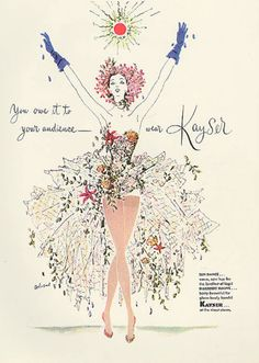 "Illustration by  Saul Bolasni, March 1951, ""You owe it to your audience"", Kayser Hosiery, Vogue."