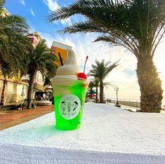 ■CREAM SODA 鮮やかなメロンソーダに昔懐かし濃厚バニラのH.B.Hソフトクリームを贅沢にトッピングしたクリームソーダです。 Okinawa, Drink Bottles, Drinks, Drinking, Beverages, Drink, Beverage