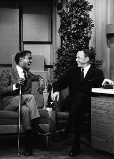 frank sinatra & sammy davis jr. - rare photo of Sammy and Frank on the Late Night show with Johnny Carson - MReno