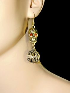 Skull Earrings  Bronze Tone by JewelrybyDecember67 on Etsy