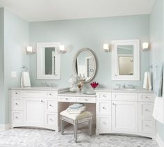 Bathroom, Lovely White Double Bathroom Vanity With Makeup Area Under Oval Mirror Between 2 Mirror Cabinets With Chrome Sconces: Top 15 Bathroom Vanity with Make Up Table