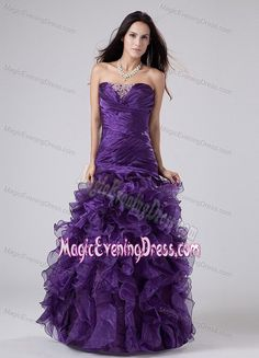 Strapless Purple Beaded Long Evening Dress for Women with Ruffles in AK USA