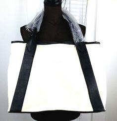 Merona Women's Canvas Tote White With Black Straps #Merona #Tote