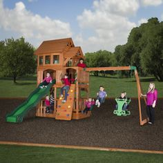 Liberty II Wooden Swing Set. The Liberty backyard playset has an awesome raised clubhouse topped by a wooden roof, with sides, bay windows, dormers, and a covered front porch. Railings surround both the lower deck and the sand box area (sand sold separately). It provides hours of fun with a wooden swing set of two belt swings and a two-person glider. Its solid rock wall and standard ladder make getting up to the fort fun and its 10' speedy wave slide makes coming down a thrill!