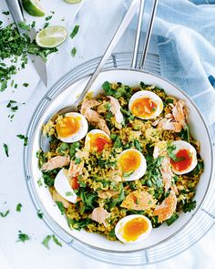 Kick start your day with this kedgeree recipe made with brown rice and salmon – a great source of protein and high in omega-3 fatty acids which help healthy brain, heart and joint function.