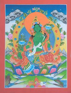 Original Painting  Green Tara  Goddess of by Nanjandu2 on Etsy, $50.00