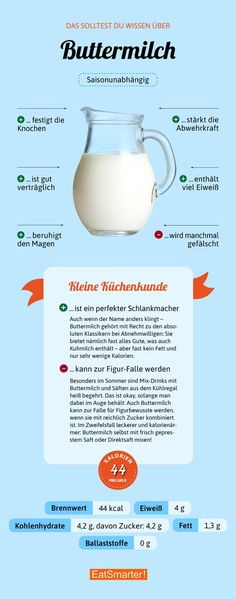 das solltest du uber buttermilch wissen eatsmarter de buttermilch infografik ernahrung - The world's most private search engine Health Facts, Health Diet, Diet And Nutrition, Healthy Food List, Healthy Life, Fat Burning Drinks, Le Diner, Natural Supplements, Food Facts
