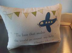 Airplane pillow handmade transportation by SweetMeadowDesigns