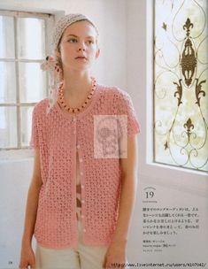 "Photo from album ""Кnitting Еurope spring summer"" on Yandex. Crochet Shirt, Crochet Jacket, Knit Crochet, Crochet Tops, Europe Spring, Short Sleeves, Short Sleeve Dresses, Knitting Books, Knitting Patterns"
