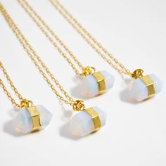 Opalite Necklace, Opalite Point Necklace, Opalite Pendant Necklace, Gold Prism Necklace, Double Point Necklace, Gemstone Point Necklace by Gemstonique on Etsy https://www.etsy.com/listing/256799043/opalite-necklace-opalite-point-necklace