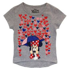 Minnie Mouse Toddler Girls' Hearts Short Sleeve T-Shirt - Heather Grey