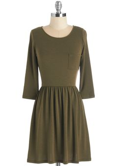 Cinch Me, I'm Dreaming Dress. Youve had your share of fashion fantasies, but you never imagined a garment as stylishly simple as this olive-green dress! #green #modcloth