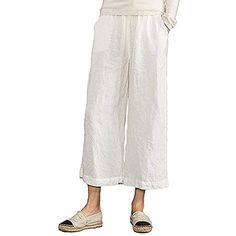9f372ed00af Women s Plus Size Elastic Waist Wide Leg Linen Cropped Pants    More info  could be