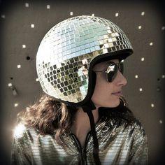 \a disco ball helmet.
