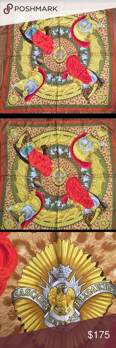 """Hermes Silk Scarf Vintage Hermes Paris Scarf, """"Casques et Plumets""""  90cm 35"""" Hermes Accessories Scarves & Wraps"""