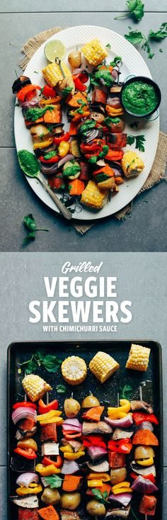 EASY + DELICIOUS Veggie Skewers with Chimichurri! The PERFECT plant-based option for grilling season.