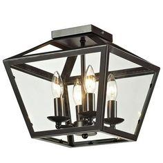 Trapezoid Glass Flush Mount Ceiling Lantern