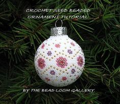 Beaded Christmas Ornament or Ball with Swarovski Crystals - Crochet PDF File TUTORIAL -  Vol.2 - Floral Design. $8.50, via Etsy.