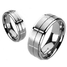 Dual finish titanium ring in a slotted cross pattern. Beautiful detailing adds just the right amount of class. For men and women. Perfect for couples. Wholesale Titanium Rings & Wedding Bands. www.925express.com
