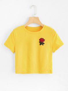 #Spring #AdoreWe #ROMWE - #ROMWE Rose Embroidered Patch Crop Tee - AdoreWe.com