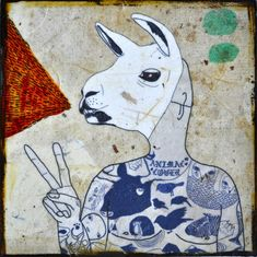 """""""Animal Lover"""" mixed media print on wood by retrowhale (nickname for Los Angeles artist Kelly Puissegur)"""