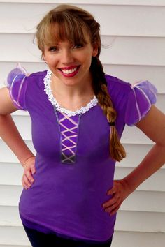 Princess Rapunzel Costume T-Shirt Made to Order. $25.00, via Etsy.    I love the idea of converting a t-shirt and adding a skirt to make an awesome Disney princess costume.