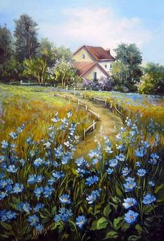 Oil painting - the living art! Landscape Drawings, Watercolor Landscape, Landscape Art, Landscape Paintings, Watercolor Paintings, Nature Paintings, Beautiful Paintings, Beautiful Landscapes, Country Art