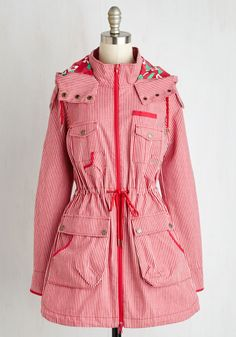 Worth a Thousand Wharfs Jacket. If youre harboring fond feelings for the docks, slip into this red-and-white striped anorak and hit the inlet! #red #modcloth