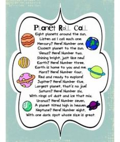 Our Solar System 8 Planets poem! A great way for kids to learn the order of the planets in our solar system! Kid Science, 4th Grade Science, Science Classroom, Science Lessons, Teaching Science, Earth Science, Science Space, Montessori Classroom, Elementary Science