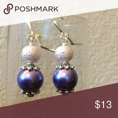 NWT 🌺 earrings Deep purple with lilac sparkly earrings. About an inch long, with leverback closure. Stainless steel available at no extra charge. Sterling silver available for an extra $2. Matching bracelet and necklace available. Hand made by me. Jewelry Earrings