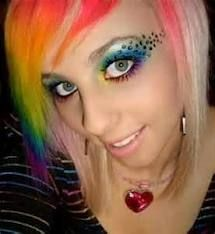Awesome multi colored emo hair.