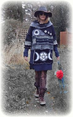 RESERVED for Judy Gitterman * Triple Goddess Moon Pentagram Long Jumper with Decorative Buttons ReCyCleD UpCyCleD Wearable Art Size: L / X-L