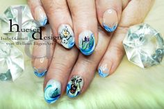 Frozen Nail Art with Olaf and Sven! Naildesign by Isabel Gesell, created with UV Gel products from von Wellean EigenArt http://www.vw-e.de/uv-gel