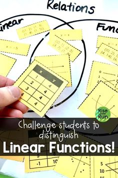 I love this linear function card sort! Students use a Venn Diagram to sort relations as functions or not, and linear or not. Great critical thinking and group work in grade math. Algebra Activities, Sorting Activities, Math Resources, Classroom Resources, Map Diagram, Linear Function, Algebraic Expressions, Math Groups, Math Strategies