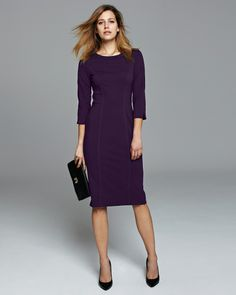 Purple Ponte Dress | Pure Collection